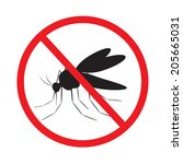 prohibition sign. mosquito in a ... | Shutterstock .eps vector #205665031