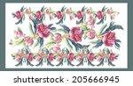 pink peonies garland....   Shutterstock . vector #205666945