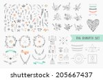 hand drawn vintage floral... | Shutterstock .eps vector #205667437