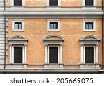 vintage closed windows on old... | Shutterstock . vector #205669075