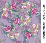 peonies . floral seamless... | Shutterstock . vector #205671235