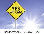 yes  we can road sign with sun... | Shutterstock . vector #205672129