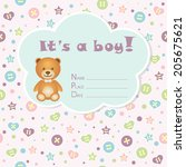 baby boy arrival card. baby... | Shutterstock .eps vector #205675621