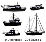 boats silhouettes | Shutterstock .eps vector #205683661