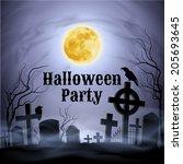 spooky graveyard on the...   Shutterstock .eps vector #205693645
