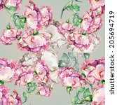 branch of pink roses on gray... | Shutterstock . vector #205694719