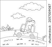 cute dinosaur driving a car go...   Shutterstock .eps vector #2057009087