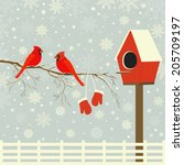 Red Birds On Branch With Snow...