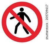 prohibition sign no pedestrian... | Shutterstock .eps vector #205709617