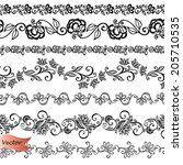 vector set of decorative floral ... | Shutterstock .eps vector #205710535