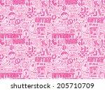 doodle internet web seamless... | Shutterstock .eps vector #205710709