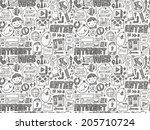 doodle internet web seamless... | Shutterstock .eps vector #205710724