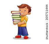 cartoon boy with pile of books  ... | Shutterstock .eps vector #205711444