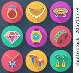 set of jewelry flat icons....   Shutterstock .eps vector #205711774