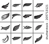 Wings design elements set in different styles vector illustration