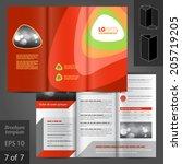 red vector brochure template... | Shutterstock .eps vector #205719205