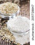portion of buckwheat flour on... | Shutterstock . vector #205728847