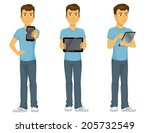 casually dressed happy cartoon... | Shutterstock .eps vector #205732549