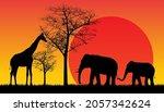 Safari Wildlife Africa Sunset   ...