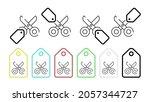 scissors vector icon in tag set ...