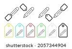 pencil vector icon in tag set...