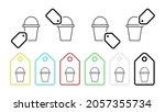 bucket vector icon in tag set...