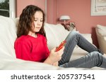 an image of a young girl with a ... | Shutterstock . vector #205737541
