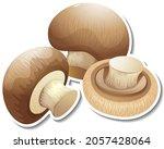 champignon mushroom sticker on...   Shutterstock .eps vector #2057428064