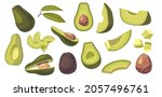 set of avocado vegetarian food...   Shutterstock .eps vector #2057496761