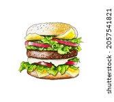 burger hamburger sketch hand...   Shutterstock .eps vector #2057541821