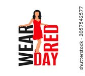 national wear red day. young... | Shutterstock .eps vector #2057542577