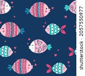 cute sea and fishes. seamless... | Shutterstock .eps vector #2057550977