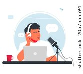 the man is recording a podcast. ... | Shutterstock .eps vector #2057555594