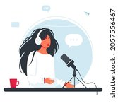 the woman is recording a... | Shutterstock .eps vector #2057556467