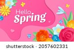 hello spring banner with paper... | Shutterstock .eps vector #2057602331