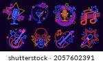 neon signs for karaoke club and ... | Shutterstock .eps vector #2057602391