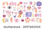 cute valentines day stickers... | Shutterstock .eps vector #2057602424