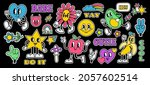retro cartoon stickers with... | Shutterstock .eps vector #2057602514