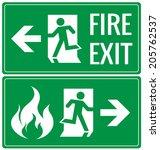 emergency fire exit door signs... | Shutterstock .eps vector #205762537