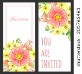 set of invitations with floral... | Shutterstock .eps vector #205763461