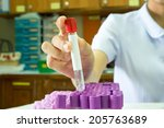 female researcher holding up a... | Shutterstock . vector #205763689