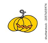 doodle halloween scary yellow...   Shutterstock .eps vector #2057655974