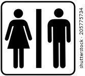 a lady and a man toilet sign on ... | Shutterstock .eps vector #205775734
