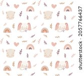 boho seamless pattern with... | Shutterstock .eps vector #2057766437