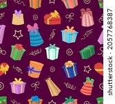 gift boxes pattern. holiday... | Shutterstock .eps vector #2057768387