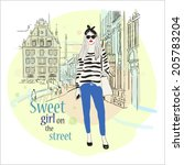 pretty girl on the street. | Shutterstock .eps vector #205783204