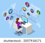 isometric social network... | Shutterstock .eps vector #2057918171