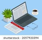 isometric business news concept.... | Shutterstock .eps vector #2057920394