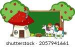 empty chalkboard banner with... | Shutterstock .eps vector #2057941661
