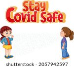 stay covid safe font in cartoon ... | Shutterstock .eps vector #2057942597